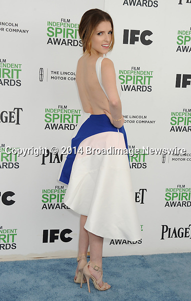 LPictured: Anna Kendrick<br /> Mandatory Credit &copy; Gilbert Flores/Broadimage<br /> 2014 Independent Spirit Awards<br /> <br /> 3/1/14, Santa Monica, California, United States of America<br /> <br /> Broadimage Newswire<br /> Los Angeles 1+  (310) 301-1027<br /> New York      1+  (646) 827-9134<br /> sales@broadimage.com<br /> http://www.broadimage.com