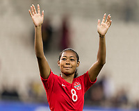 GRENOBLE, FRANCE - JUNE 15: Jayde Riviere #8 of the Canadian National Team waves to fans during a game between New Zealand and Canada at Stade des Alpes on June 15, 2019 in Grenoble, France.