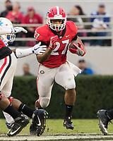 Athens, GA - November 18, 2017: The number 7 ranked Georgia Bulldogs host the Kentucky Wildcats at Sanford Stadium.  Final score Georgia 42, Kentucky 13.
