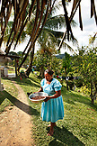 BELIZE, Punta Gorda, Village of San Pedro Colombia, separating the Cacao shells from the beans, making Chocolate