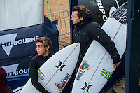 BELLS BEACH, Victoria/AUS (Sunday, March 27, 2016) Conner Coffin (USA) with coach Brad Gerlach (USA) - Action at the Rip Curl Pro Bells Beach, the second stop on the World Surf League (WSL) Championship Tour (CT), continued today with Round Two and six heats of Round Three of the Men's heats.<br /> There were light onshore South West winds throughout the day with the swell in the 6'-8' range.<br /> <br /> Bells Beach has been hosting surfing tournaments for more than 50 years now, making it the most renowned spot on the raw and rugged southern coast of Victoria, Australia. The list of  Rip Curl Pro event champions is a veritable who's who of surfing icons, including many world champions.<br /> <br /> Surfing's greats have a way of dominating Bells. Mark Richards, Kelly Slater, and Mick Fanning all have four Bells trophies; Michael Peterson and Sunny Garcia, three; While Simon Anderson, Tom Curren, Joel Parkinson, Andy Irons, and Damien Hardman each grabbed a pair.<br /> <br /> The story is similar on the women's side. Lisa Andersen and Stephanie Gilmore have four Bells titles; Layne Beachley and Pauline Menczer, three; while Kim Mearig and Sally Fitzgibbons each have two.<br /> <br /> The 2016 event is about to kick off tomorrow and there was a packed warm up session at Bells this morning. <br /> Photo: joliphotos.com with coach Brad Gerlach (USA)(USA) - Action at the Rip Curl Pro Bells Beach, the second stop on the World Surf League (WSL) Championship Tour (CT), continued today with Round Two and six heats of Round Three of the Men's heats.<br /> There were light onshore South West winds throughout the day with the swell in the 6'-8' range.<br /> <br /> Bells Beach has been hosting surfing tournaments for more than 50 years now, making it the most renowned spot on the raw and rugged southern coast of Victoria, Australia. The list of  Rip Curl Pro event champions is a veritable who's who of surfing icons, including many world champions.<br /> <br /> Surfing's greats have a way of dominating Bells. Mark Richards, Kelly Slater, and Mick Fanning all have fo