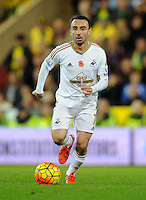 Leon Britton of Swansea City during the Barclays Premier League match between Norwich City and Swansea City played at Carrow Road, Norwich on November 7th 2015