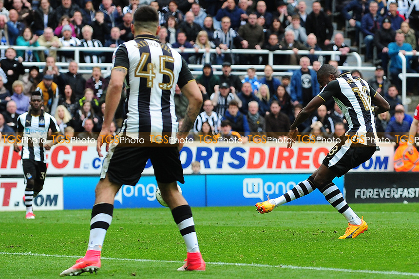 Chancel Mbemba of Newcastle United scores Newcastle United's second goal during Newcastle United vs Barnsley, Sky Bet EFL Championship Football at St. James' Park on 7th May 2017