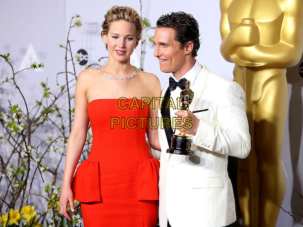 02 March 2014 - Hollywood, California - Jennifer Lawrence, Matthew McConaughey. 86th Annual Academy Awards held at the Dolby Theatre at Hollywood &amp; Highland Center. <br /> <br /> CAP/ADM/RE<br /> &copy;Russ Elliot/AdMedia/Capital Pictures