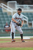 Delmarva Shorebirds starting pitcher Ryan Wilson (16) in action against the Kannapolis Intimidators at Kannapolis Intimidators Stadium on June 3, 2019 in Kannapolis, North Carolina. The Shorebirds defeated the Intimidators 5-3. (Brian Westerholt/Four Seam Images)