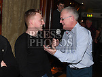 Gerry Kelly interviews player Stephen Dunne at the Drogheda United meet and greet night in Mother Hughes's. Photo:Colin Bell/pressphotos.ie