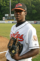 August 19, 2005:  Pitcher Luis Lebron of the Bluefield Orioles during a game at Bowen Field in Bluefield, WV.  Bluefield is the Appalachian League Class-A affiliate of the Baltimore Orioles.  Photo by:  Mike Janes/Four Seam Images