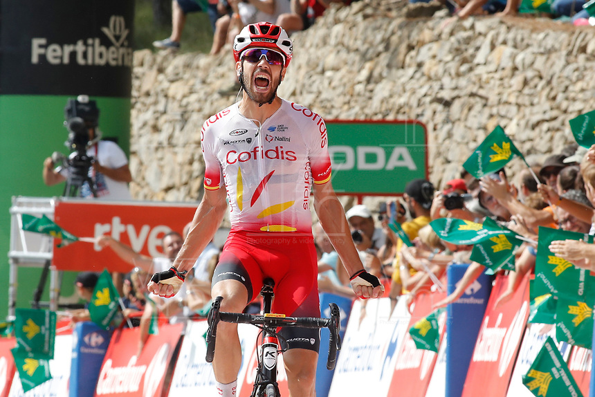 ESPAÑA, 29-08-2019: Jesus Herrada (ESP - COFIDIS) celebra tras ganar la etapa 6, hoy, 29 de agosto de 2019, que se corrió entre Mora de Rubielos y Ares del Maestrat con una distancia de 198,9 km como parte de La Vuelta a España 2019 que se disputa entre el 24/08 y el 15/09/2019 en territorio Español. / Jesus Herrada (ESP - COFIDIS) celebrates after winning stage 6 today, August 29, 2019, from Mora de Rubielos to Ares del Maestrat with a distance of 198,9 km as part of Tour of Spain 2019 which takes place between 08/24 and 09/15/2019 in Spain.  Photo: VizzorImage / Luis Angel Gomez / ASO<br /> VizzorImage PROVIDES THE ACCESS TO THIS PHOTOGRAPH ONLY AS A PRESS AND EDITORIAL SERVICE AND NOT IS THE OWNER OF COPYRIGHT; ANOTHER USE HAVE ADDITIONAL PERMITS AND IS  REPONSABILITY OF THE END USER