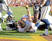 Landover, MD - October 12, 2008 -- Washington Redskins tight end Chris Cooley (47) celebrates a fourth quarter touchdown against the St. Louis Rams at FedEx Field in Landover, Maryland on Sunday, October 12, 2008.  The touchdown gave the Redskins a 17 -16 lead late in the fourth quarter.  The Rams came back to win the game 19 - 17..Credit: Ron Sachs / CNP