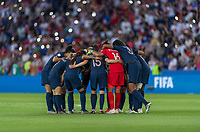PARIS,  - JUNE 28: France huddles during a game between France and USWNT at Parc des Princes on June 28, 2019 in Paris, France.