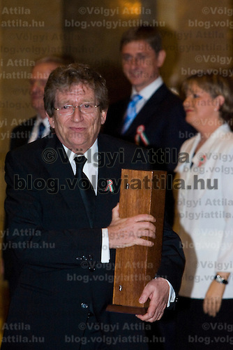Actor Andras Kern receives national Kossuth award in the Parliament.