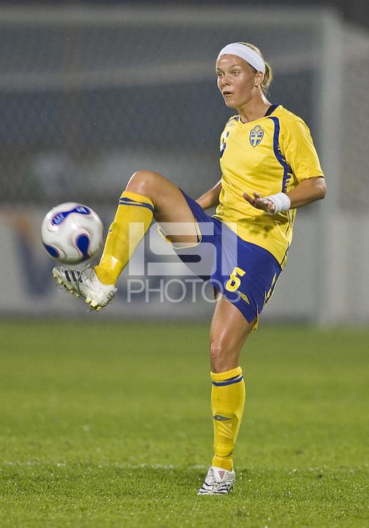 Sweden defender (6) Sara Thunebro. Sweden (SWE) tied Nigeria (NGA) 1-1 during a FIFA Women's World Cup China 2007 opening round Group B match at Chengdu Sports Center Stadium, Chengdu, China, on September 11, 2007.