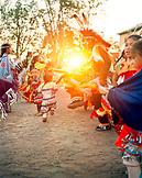 USA, Arizona, Holbrook, group of Navajo Dancers at sunset
