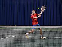 21-02-2014, Netherlands, Eemnes, Michael Borg(NED) playing with old wooden racket<br /> Photo: Henk Koster