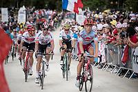 Buddies Jasper Stuyven (BEL/Trek-Segafredo) & Wout van Aert (BEL/Jumbo - Visma) up the gravel section in the final stretch to the finish line up La Planche des Belles Filles<br /> <br /> Stage 6: Mulhouse to La Planche des Belles Filles (157km)<br /> 106th Tour de France 2019 (2.UWT)<br /> <br /> ©kramon