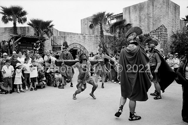 Orlando, Florida.March 27, 2005 .The Holy Land Experience, in Orlando, is a Disneyland for Christians, build and run by converted Jewish Israeli, Marvin J. Rosenthal. The crucifixion, and resurrection of Jesus Christ is played out several times a day on to hundreds of American tourists..