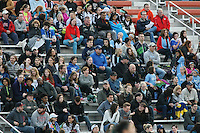 Piscataway, NJ, May 7, 2016. Sky Blue FC fans watch the action from the bleachers.  The Western New York Flash defeated Sky Blue FC, 2-1, in a National Women's Soccer League (NWSL) match at Yurcak Field.