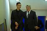 Atletico de Madrid´s president Enrique Cerezo (R) and Matias Kranevitter during his presentation in Madrid, Spain. January 04, 2015. (ALTERPHOTOS/Victor Blanco)