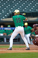 Eric Gilgenbach (15) of the Notre Dame Fighting Irish at bat against the Florida State Seminoles in Game Four of the 2017 ACC Baseball Championship at Louisville Slugger Field on May 24, 2017 in Louisville, Kentucky. The Seminoles walked-off the Fighting Irish 5-3 in 12 innings. (Brian Westerholt/Four Seam Images)