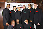 """Black Gents of Hollywood presents Layon Gray's Black Angels Over Tuskegee on the Second Anniversary of the play on February 18, 2012 at The Actors' Temple, New York City, New York. CAST of Black Angels - As The World Turns' Lamman Rucker """"T. Marshall Travers"""" and AMC, Justin Biko, Melvin Huffnagle, Layon Gray (author), Thom Scott II, Steve Brustein. Front: David Roberts, Thaddeus Daniels, Jason McGee. (Photo by Sue Coflin/Max Photos)"""