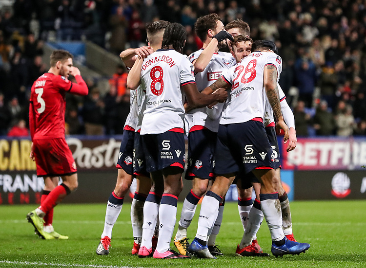 Bolton Wanderers celebrate scoring their side's second goal by Josh Magennis <br /> <br /> Photographer Andrew Kearns/CameraSport<br /> <br /> Emirates FA Cup Third Round - Bolton Wanderers v Walsall - Saturday 5th January 2019 - University of Bolton Stadium - Bolton<br />  <br /> World Copyright © 2019 CameraSport. All rights reserved. 43 Linden Ave. Countesthorpe. Leicester. England. LE8 5PG - Tel: +44 (0) 116 277 4147 - admin@camerasport.com - www.camerasport.com