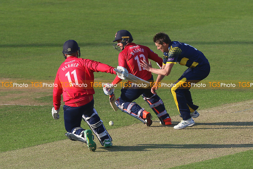 Simon Harmer (L), Neil Wagner and Michael Hogan get into a tangle during Glamorgan vs Essex Eagles, Royal London One-Day Cup Cricket at the SSE SWALEC Stadium on 7th May 2017