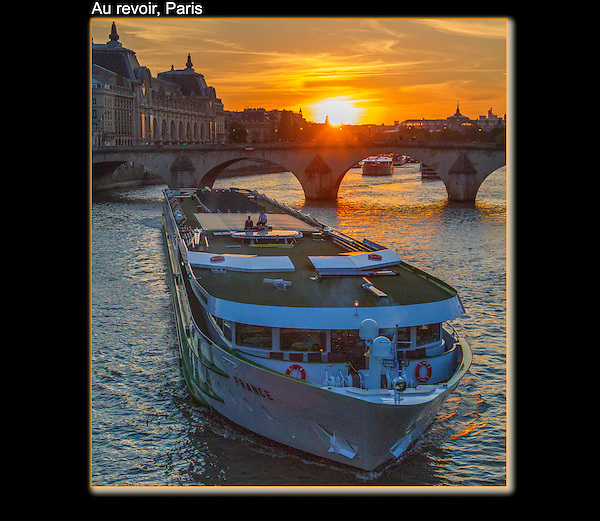 Musee d'Orsay (left) and tour boat on the Seine River at sunset, Paris, France.