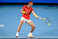 10th January 2020; Sydney Olympic Park Tennis Centre, Sydney, New South Wales, Australia; ATP Cup Australia, Sydney, Day 8; Belgium versus Spain;David Goffin of Belgium versus Rafael Nadal of Spain; Rafael Nadal of Spain hits a forehand to David Goffin of Belgium - Editorial Use