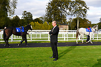 Clerk of the Course Jeremy Martin watches runners in the Parade Ring during Afternoon Racing at Salisbury Racecourse on 4th October 2017