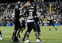 Florida International University football players celebrate during the game against the University of Louisiana-Lafayette on September 24, 2011 at Miami, Florida. Louisiana-Lafayette won the game 36-31. .