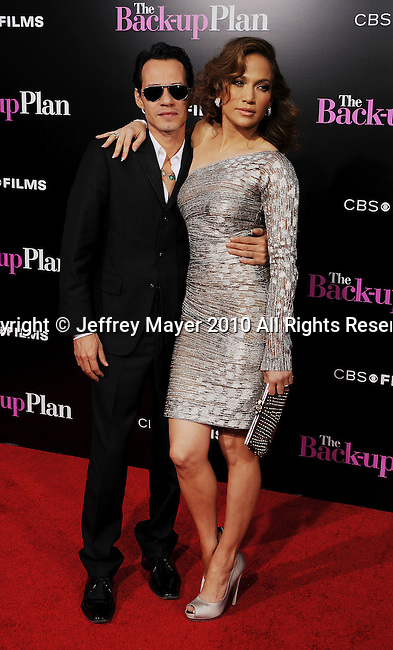 "WESTWOOD, CA. - April 21: Marc Anthony and Jennifer Lopez attend the ""The Back-Up Plan"" Los Angeles Premiere at Regency Village Theatre on April 21, 2010 in Westwood, California."