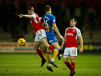 Fleetwood Town's Jack Sowerby battles with Shrewsbury Town's Bryn Morris<br /> <br /> Photographer Alex Dodd/CameraSport<br /> <br /> The EFL Sky Bet League One - Fleetwood Town v Shrewsbury Town - Tuesday 13th February 2018 - Highbury Stadium - Fleetwood<br /> <br /> World Copyright &copy; 2018 CameraSport. All rights reserved. 43 Linden Ave. Countesthorpe. Leicester. England. LE8 5PG - Tel: +44 (0) 116 277 4147 - admin@camerasport.com - www.camerasport.com
