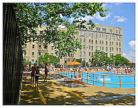 NEW YORK, NY - JULY 5: People swimming at John Jay Park swimming pool in Yorkville, New York on July 5, 2013. Photo Credit: Thomas R Pryor