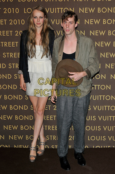 GUEST & JOHNNY BORRELL .attending the launch of the Louis Vuitton Bond Street Maison in London, England, UK, May 25th, 2010. .full length grey gray tweed trousers loose baggy green khaki jacket black .CAP/PL.©Phil Loftus/Capital Pictures.