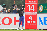 Jessica Korda (USA) on the 14th tee during Round 2 of the Ricoh Women's British Open at Royal Lytham &amp; St. Annes on Friday 3rd August 2018.<br /> Picture:  Thos Caffrey / Golffile<br /> <br /> All photo usage must carry mandatory copyright credit (&copy; Golffile | Thos Caffrey)