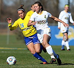 SIOUX FALLS, SD - NOVEMBER 7:  Roxy Roemer #4 from NDSU tries to get a step past Alyssa Brazil #15 from SDSU in the first half of the Summit League Championship Soccer match Saturday at Fischback Soccer Field in Brookings. (Photo by Dave Eggen/Inertia)