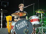 Nick Hodgson of the Kaiser Chiefs performing at the Oxegen Music Festival 2008 Punchestown County kildare Republic of Ireland. Photo: Colin Bell/NEWSFILE