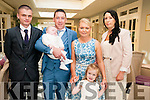 Baby Daryl Bernard Mongey with his parents Brian Mongey & Kerry O'Connor, Listoweland sister Abbey and god parents Michael O'Connor and Sharon Riley who was christened in St. Mary's Church, Listowel by Canon Declan O'Connor and afterwards at the Listowel Arms Hotel.