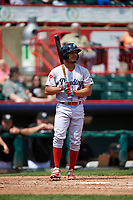 Reading Fightin Phils right fielder Jiandido Tromp (7) at bat during a game against the Erie SeaWolves on May 18, 2017 at UPMC Park in Erie, Pennsylvania.  Reading defeated Erie 8-3.  (Mike Janes/Four Seam Images)