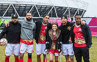 Winners RUDIMENTAL pose with the injured ROBYN REGAN (Singer/Songwriter) during the SOCCER SIX Celebrity Football Event at the Queen Elizabeth Olympic Park, London, England on 26 March 2016. Photo by Kevin Prescod.
