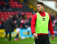 Lincoln City's Jason Shackell during the pre-match warm-up<br /> <br /> Photographer Andrew Vaughan/CameraSport<br /> <br /> The EFL Sky Bet League Two - Lincoln City v Crewe Alexandra - Saturday 6th October 2018 - Sincil Bank - Lincoln<br /> <br /> World Copyright &copy; 2018 CameraSport. All rights reserved. 43 Linden Ave. Countesthorpe. Leicester. England. LE8 5PG - Tel: +44 (0) 116 277 4147 - admin@camerasport.com - www.camerasport.com
