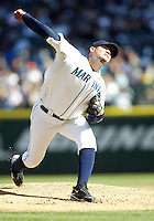 04 October 2009: Seattle Mariners starting pitcher #34 Felix Hernandez fires the ball to the plate against the Texas Rangers. Seattle won 4-3 over the Texas Rangers at Safeco Field in Seattle, Washington.
