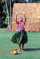 EDITORIAL ONLY. Hula dancer at Kodak Hula Show, Waikiki