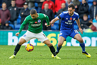 (L-R) Anthony Knockaert of Brighton closely marked by Greg Cunningham of Cardiff City during the Premier League match between Cardiff City and Brighton & Hove Albion at the Cardiff City Stadium, Cardiff, Wales, UK. Saturday 10 November 2018