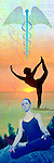 vertical metaphoric composite photo illustration panorama with icons of health including female figures in yoga poses and caduceus