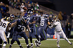 Seattle Seahawks Tarvaris Jackson passes against the St. Louis Rams at  CenturyLink Field in Seattle, Washington on December 12, 2011. The Seahawks beat the Rams 30-13. ©2011 Jim Bryant Photo. All Rights Reserved.