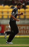 NZ captain Daniel Vettori celebrates dismissing Sachin Tendulkar during the 2nd ODI cricket match between the New Zealand Black Caps and India at Westpac Stadium, Wellington, New Zealand on Friday, 6 March 2009. Photo: Dave Lintott / lintottphoto.co.nz