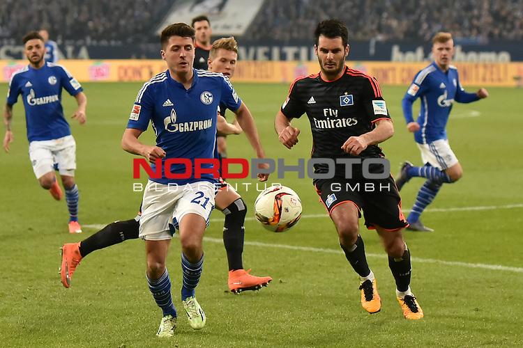 02.03.2016, VELTINS Arena Gelsenkirchen, GER, 1.FBL.  FC Schalke 04 Vs. Hamburger SV , <br /> im Bild / picture shows: <br /> Alessandro Sch&ouml;pf / Schoepf ( FC Schalke 04 #21) gegen Emir Spahic (Hamburger SV #4)<br /> <br /> <br /> <br /> Foto &copy; nordphoto / Meuter
