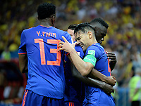 KAZAN - RUSIA, 24-06-2018: Radamel FALCAO (Der) jugador de Colombia celebra con sus compañeros después de anotar un gol a Polonia durante partido de la primera fase, Grupo H, por la Copa Mundial de la FIFA Rusia 2018 jugado en el estadio Kazan Arena en Kazán, Rusia. /  Radamel FALCAO (R) player of Colombia celebrates with his teammates after scoring a goal to Polonia during match of the first phase, Group H, for the FIFA World Cup Russia 2018 played at Kazan Arena stadium in Kazan, Russia. Photo: VizzorImage / Julian Medina / Cont