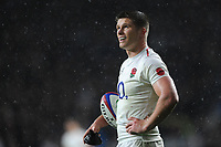 Owen Farrell (cc) of England waits to take a conversion attempt during the Quilter International match between England and New Zealand at Twickenham Stadium on Saturday 10th November 2018 (Photo by Rob Munro/Stewart Communications)